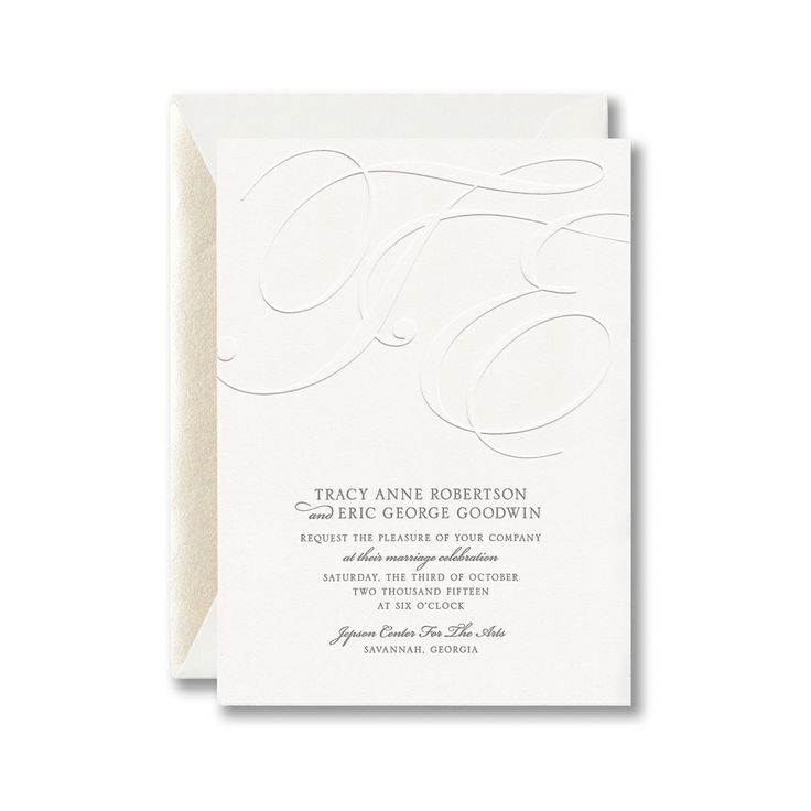 Embossed and letterpress invitation on Lettra paper with graphite ink.