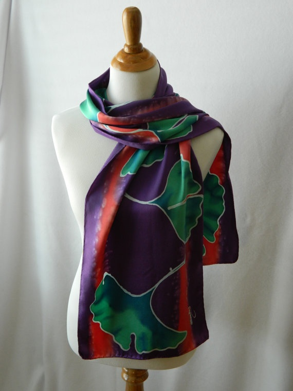 GINKO 14 X 72 silk scarf hand painted one of a kind by PaintBucket, $36.95