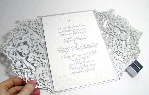site has various laser-cut invites   Spark Impress metallic silver laser-cut invitation
