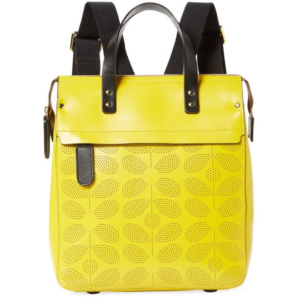Orla Kiely Women's Sixties Stem Punched Joanie Backpack - Yellow (€320) ❤ liked on Polyvore featuring bags, backpacks, yellow, yellow leather bag, genuine leather backpack, real leather backpack, leather backpacks and leather bags