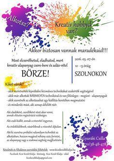 Kreatív alapanyag csere-bere-adás-vétel BÖRZE plakátja