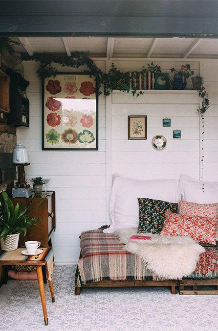 A rustic bohemian garden shed