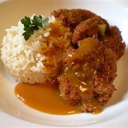 Chicken katsu curry and sticky rice :) I get this a lot at japanese restaurants. Very good :D
