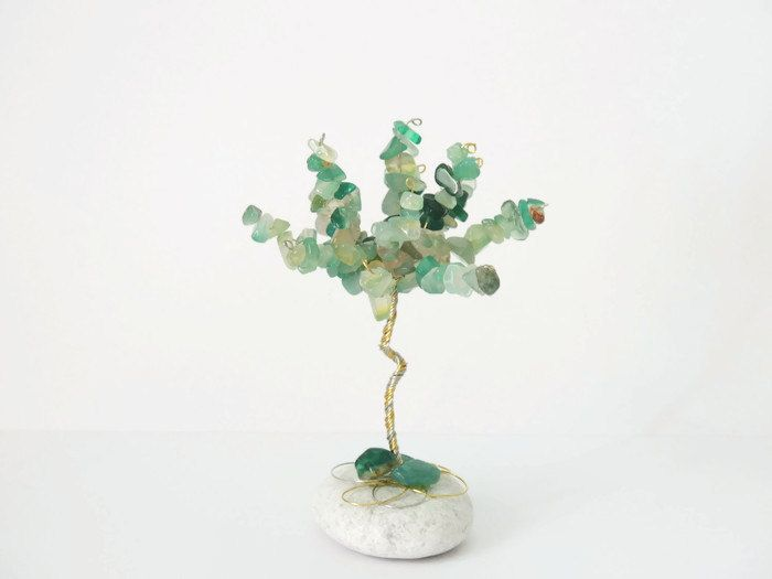 Green agate wire tree, Fathers day, Mini gem tree, Gemini birthstone, Taurus Birthstone, crystal healing, Crystal ornament, Wire sculpture by AbssOluto on Etsy