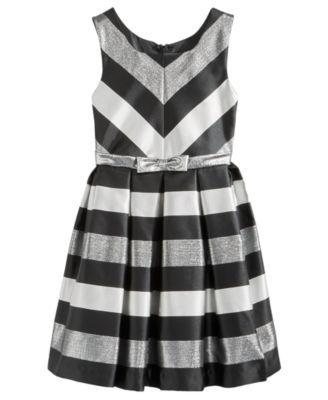 Bonnie Jean Metallic-Stripe Party Dress, Big Girls (7-16) - Silver 12