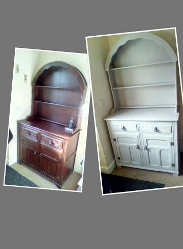 Painted with earthborn eggshell kissing gate. Grey furniture clay paint. Dresser unit. This is my craft cupboard its all hidden underneath.