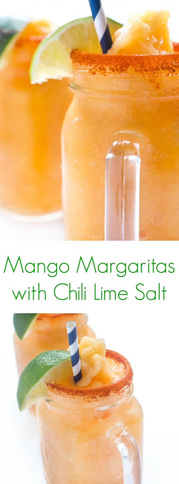 Sweet and tangy frozen mango margaritas are served with a chili lime salt rimmed glass for a spicy kick. Every sip is sweet, sour, spicy and salty!