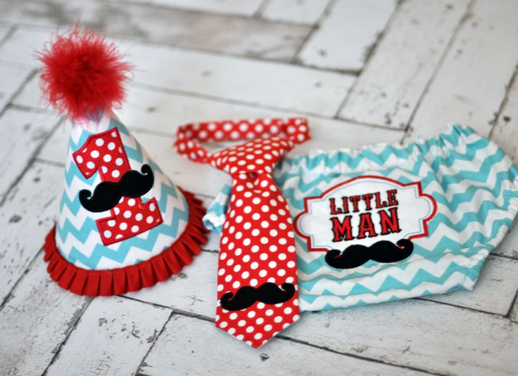 Birthday Party Hat, Diaper Cover, Tie - First Birthday, Smash Cake Pics, Photo Prop - Little Man Mustache in Red and Aqua - Vintage Barbershop or Little Man Mustache Cake Smash Outfit