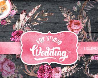 Vintage fiori clipart, clipart dell'acquerello, matrimonio clipart, clipart fiore, download immediato, uso commerciale, grafica web, grafica blog