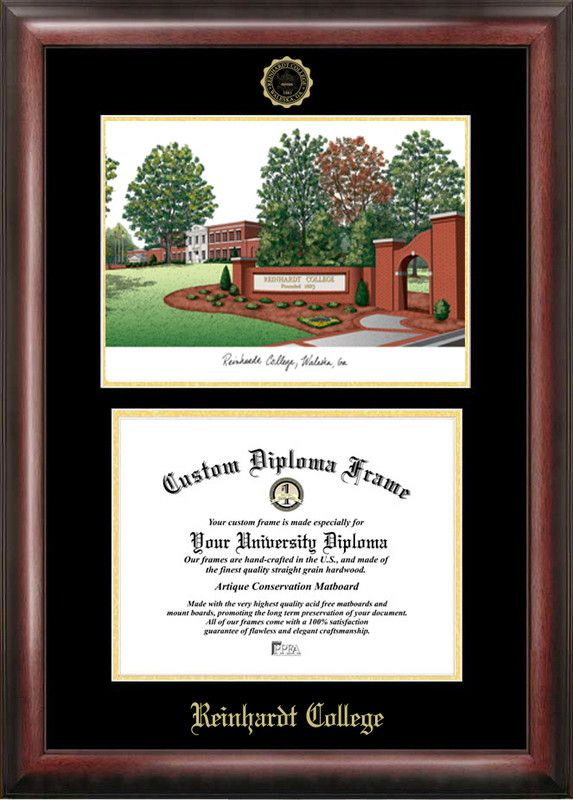Reinhardt College Gold embossed diploma frame with Campus Images lithograph