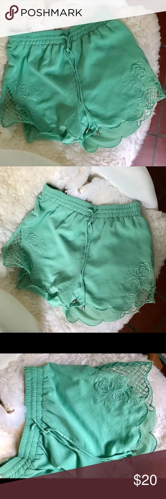 Bohemian teal shorts Boho teal shorts with elastic waist and tie. Super cute!!! Ark & Co Shorts