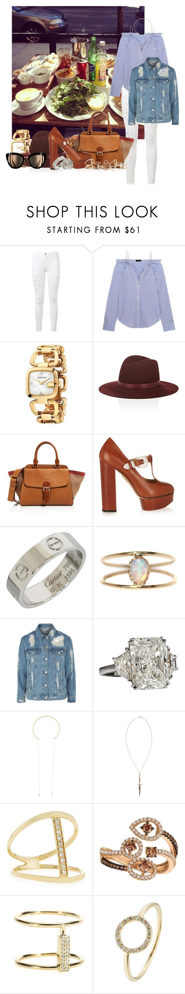 """Bez naslova #6395"" by unorthodox-1 ❤ liked on Polyvore featuring Frame, Theory, Gucci, Janessa Leone, Burberry, Charlotte Olympia, Cartier, LUMO, Topshop and Pamela Love"