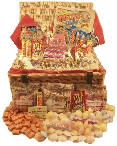 Giant Retro Sweet Hamper Giant Retro Sweet Hamper - A great big wicker hamper packed full of all kinds of traditional sweets . Weve packed it with as many old school sweets as we could, from boiled favourites like Rhubarb and http://www.MightGet.com/january-2017-12/giant-retro-sweet-hamper.asp