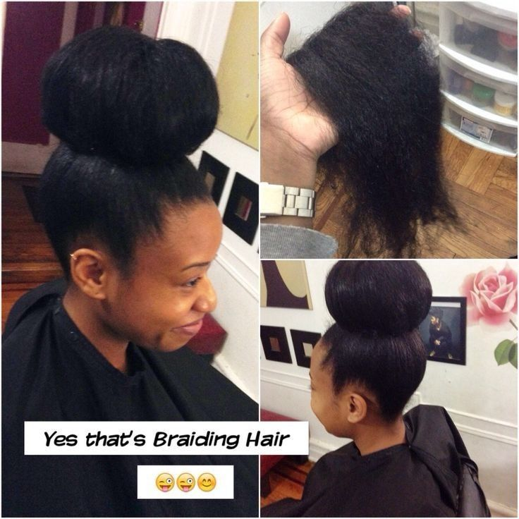 Image Result For Natural Hair Buns With Weave Bun Hairstyles Braided Hairstyles Natural Hair Styles
