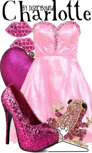 """""""Charlotte"""" ~ From Disney's Princess and the Frog, known as Lottie, this pink popping outfit was inspired by Charlotte's Princess-esque style! Perfect for Prom! Designed by Leslie Kay or also known as the designer of Disneybound outfits. Can be found on Polyvore or her personal shop or  tumblr account."""
