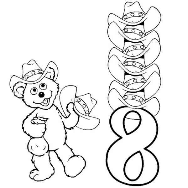 Learn Number 8 With Eight Hats Coloring Page Coloring Pages Pokemon Coloring Pages Fruit Coloring Pages