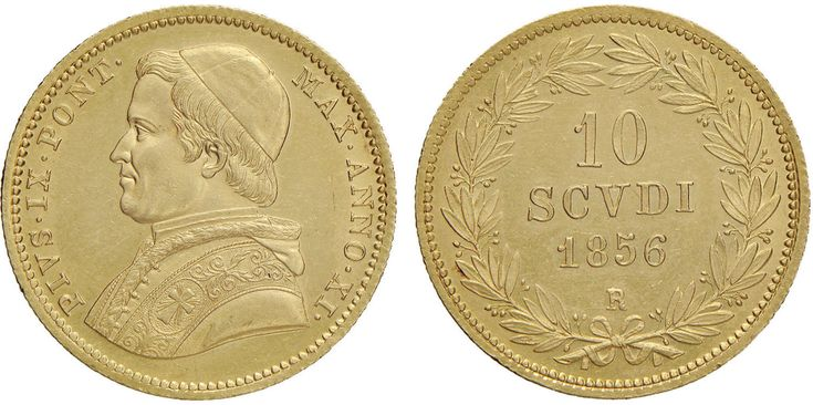 NumisBids: Nomisma Spa Auction 50, Lot 297 : Pio IX (1846-1870) 10 Scudi 1856 A. XI – Pag. 349; Mont. 74 AU (g...