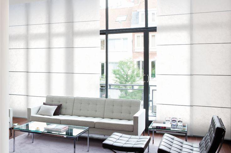 Copahome raamdecoratie / zonwering  wit. Japanse design paneelgordijnen semi transparant / La décoration de fenêtre. Panneaux Japonais blancs, semi transparent