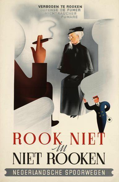 Affiche Niet Roken, 1941   Herman Nijgh (Spoorwegmuseum Utrecht)
