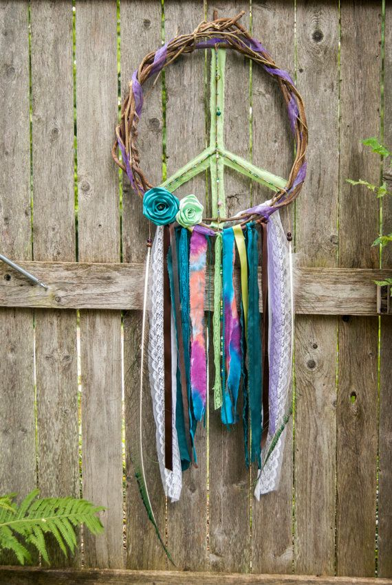 Peace Sign Wreath Door Hanger Tie Dye Decor Bohemian