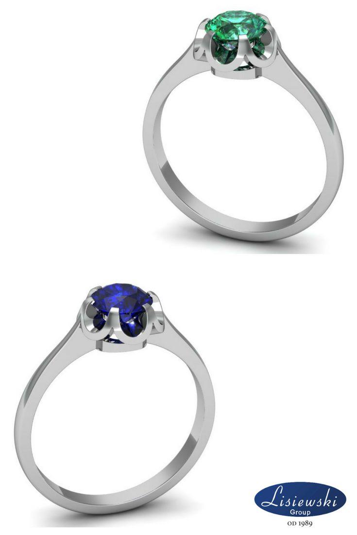 Pierścionek zaręczynowy z szafirem lub szmaragdem ~0.63ct. || Engagement ring with sapphire or emerald ~0.63ct #engagementring #emerald