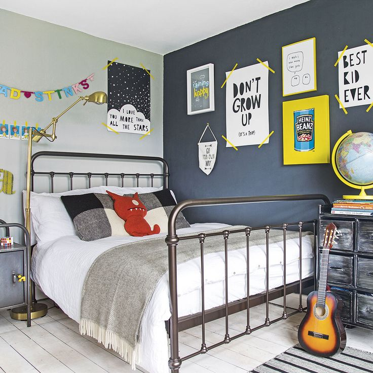 Modern children's room with colourful wall art