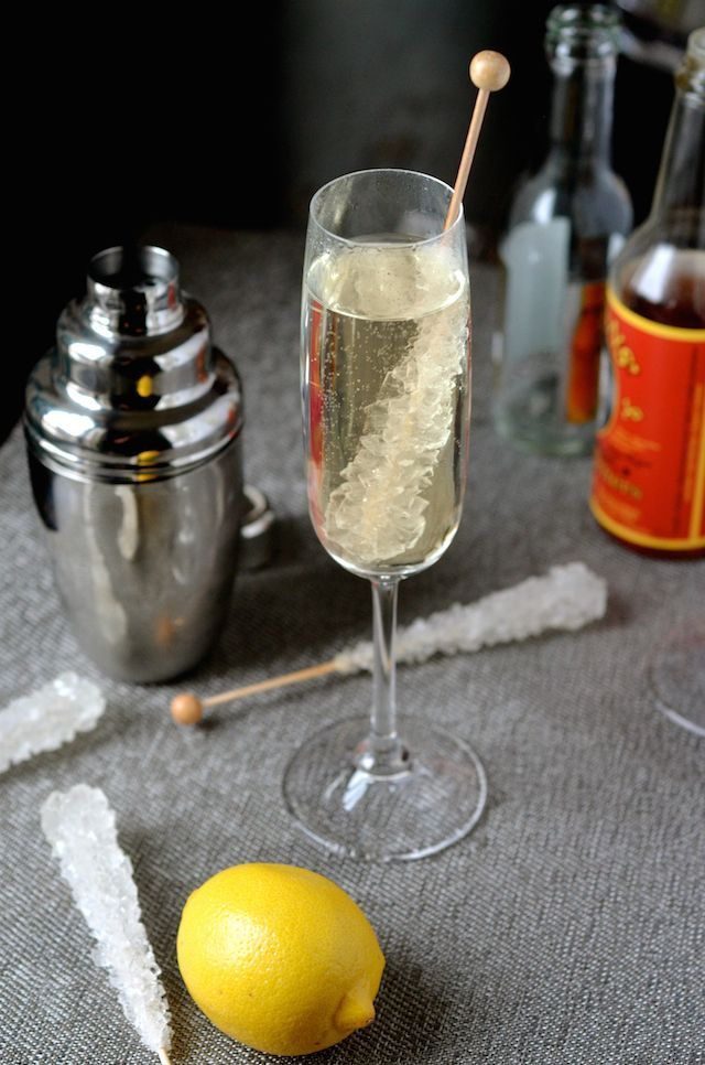 Recipe for a non-alcoholic French 75 mocktail made with fresh lemon juice, tonic water, bitters, and rock candy.