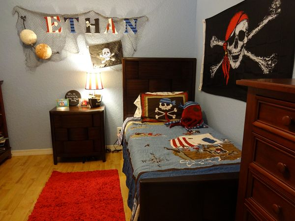Kids pirate bedroom decor - rustic, vintage, skull and crossbones, pirate decor!