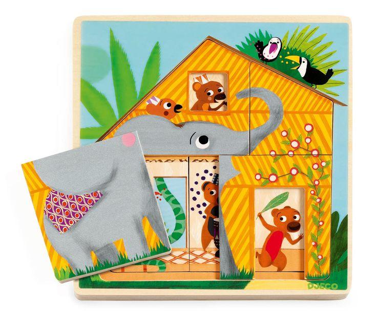 Djeco Wooden Cabana 3 Layer Puzzle