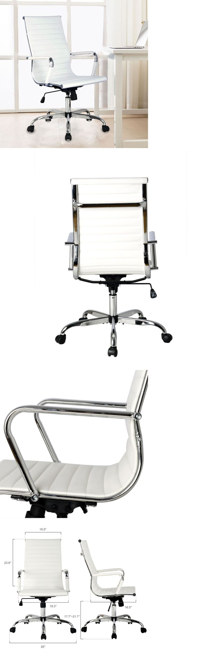 Office Furniture: Ergonomic Office Chair Pu Leather High Back Executive Computer Desk Home White -> BUY IT NOW ONLY: $65.99 on eBay!