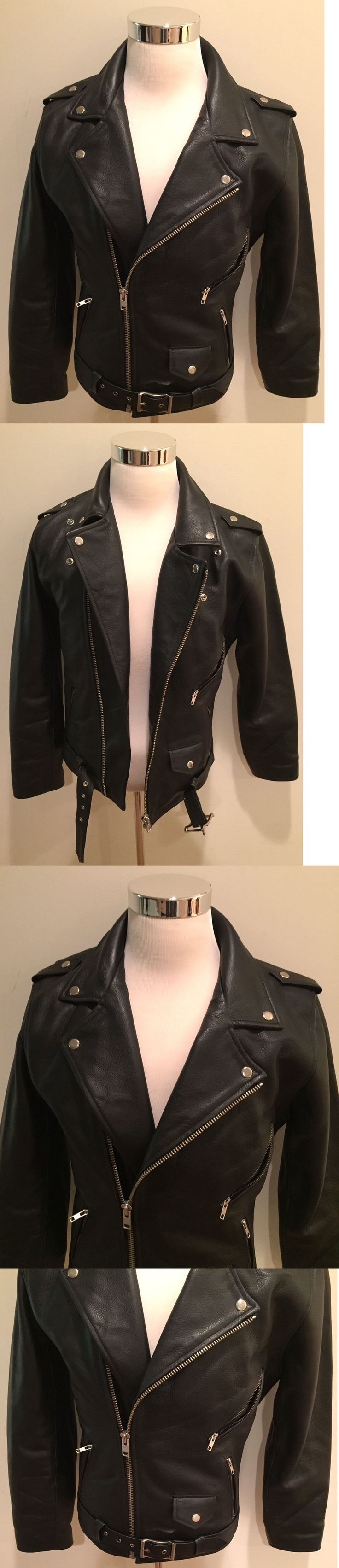 Men Coats And Jackets: Rare New Black Motorcycle Biker Bomber Leather Jacket Men S Sz Medium M -> BUY IT NOW ONLY: $224.99 on eBay!