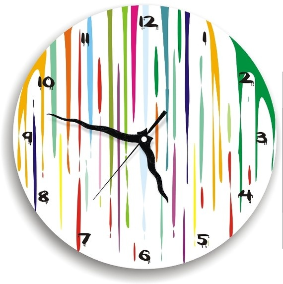 Colorful Dripping Fresh Paint Clock,large Clock,nursery Decor,kids Room  Clock,wooden Clock,modern Unique Home Decor,wall Art,housewares