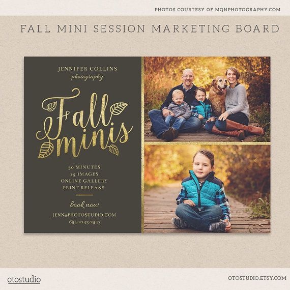 Fall Mini Sessions Template -  Photography Marketing board - INSTANT DOWNLOAD - Golden Leaves MFS004