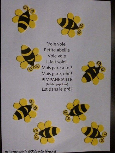 activité manuelle : insectes : abeille : comptine