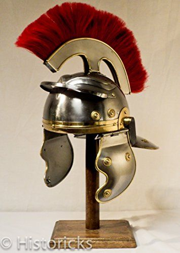Historicks Roman Centurion Helmet (with thick red plume) Roman Centurion Helmet (with thick red plume) This is a hand made replica of a centurion helmet, made with 18 guage steel and finished with brass detail. It has a removab (Barcode EAN = 5060231857755) http://www.comparestoreprices.co.uk/december-2016-4/historicks-roman-centurion-helmet-with-thick-red-plume-.asp