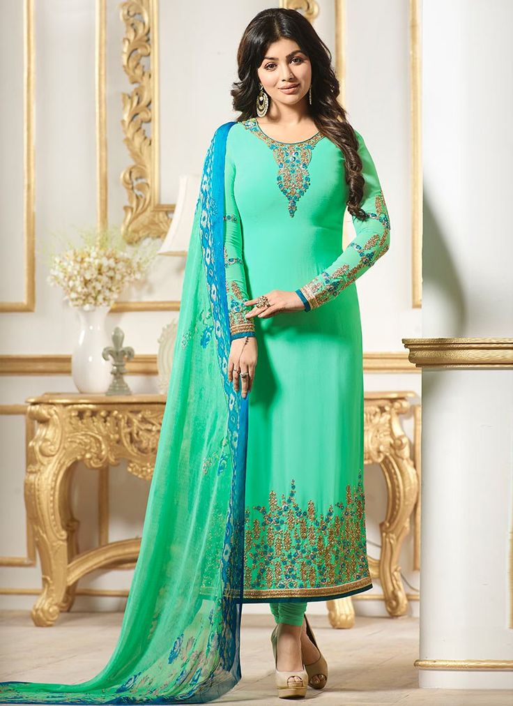 Buy Ayesha Takia Light Green Georgette Straight Suit online, SKU Code: SLSLI21904. This Green color Party straight suit for Women comes with Embroidered Faux Georgette. Shop Now!