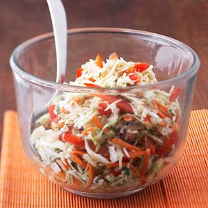 Asian Coleslaw  Cilantro kicks this low-fat coleslaw up a notch. Make it ahead for a simple side dish with only 9 g carb and under 70 calories per serving.