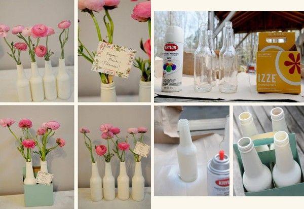 Đủ kiểu tái chế chai, lọ, vỏ hộp làm bình cắm hoa 1