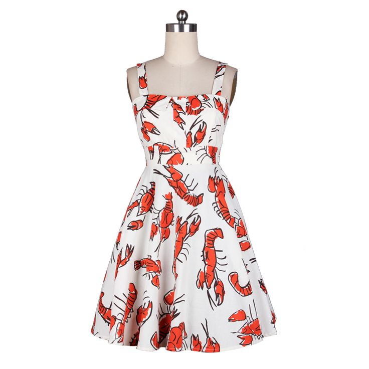 Girl Dress 50s Vintage Dress Lobster Suspender Knee-Length Spaghetti Strap Sundress Vestido de Festa JD015