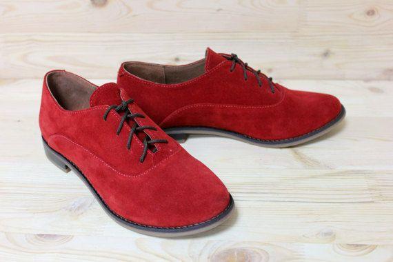 Oxford schoenen rood lederen schoenen voor vrouwen platte