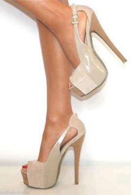 Beige Platform Shoes with Peep Toe