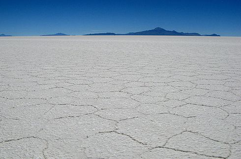 Salar De Uyuni in the Potosí and Oruro departments of southwest Bolivia. This is the world's largest salt flat. It also becomes a giant mirror of the sky during the rainy season.