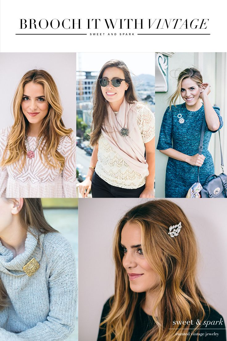 Make a statement! Curated vintage jewelry handpicked by Jillian and her dad from antique fairs and estate sales around the country. We've partnered with @galmeetsglam to show you how to style a brooch and give away 5 $100 gift cards! Enter now by clicking through now, giveaway ends 10/25/15 at 11:59 PM PST