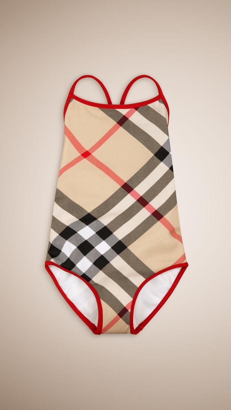 Maillot de bain à motif check avec bordure colorée | Burberry