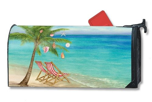 Magnet Works Mailwraps Mailbox Cover - Beachy Christmas Design Magnetic Mailbox