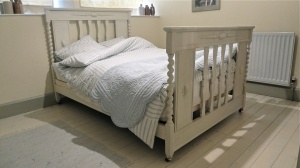 Painted Oak Double Bed - For Sale | Distressed But Not Forsaken