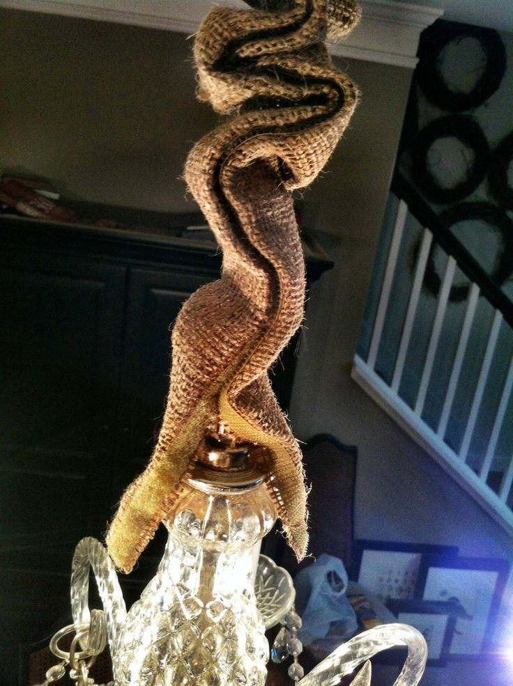 dyi burlap chandelier cord cover home inspiration pinterest burlap and cord. Black Bedroom Furniture Sets. Home Design Ideas