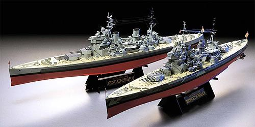 Tamiya 1/350 scale full-hull British battleships: HMS Prince of Wales (bottom) & King George V (top), add photo-etched parts for true realism! Excellent detail kits by Tamiya.