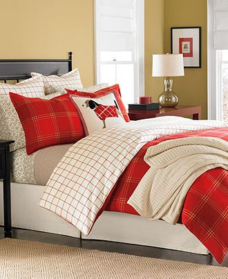 Martha Stewart Collection Bedding, Pair of Lehigh Square Flannel Standard Shams - Bedding Collections - Bed & Bath - Macy's