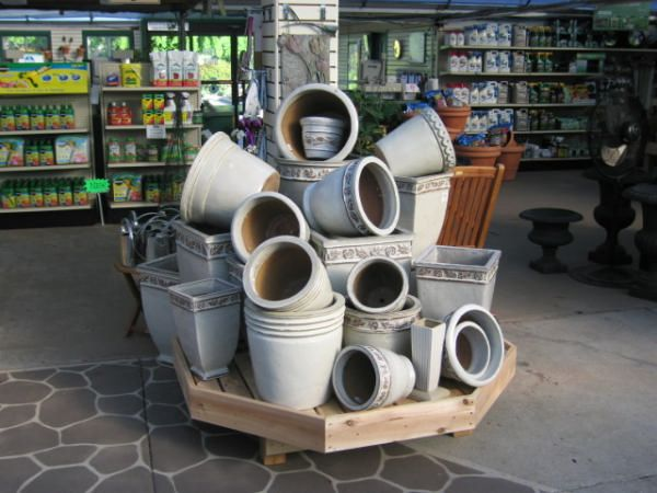 pottery displays for retail | Wood Display Products - Pottery Displays - Pottery Display Kit - Bench ...